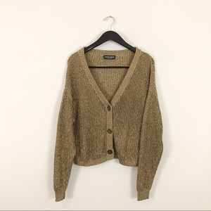American Apparel one size Slouchy Cardigan Sweater Metallic Gold Brown